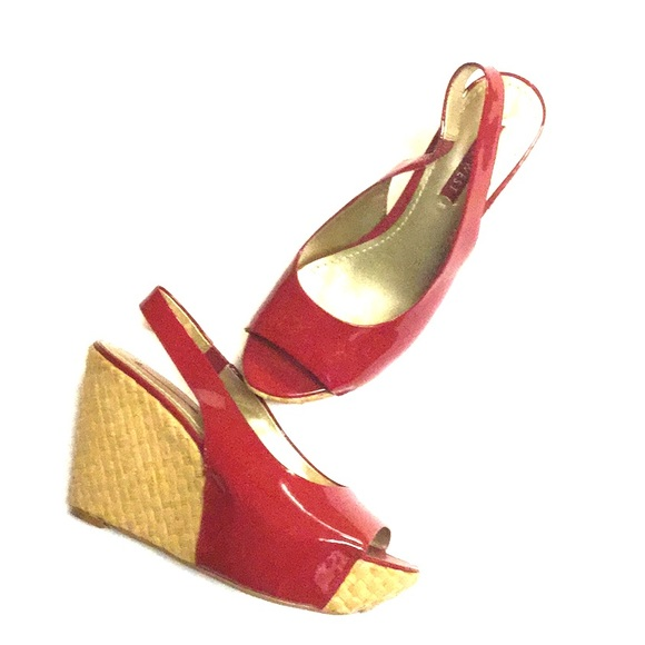 b82e6aee48e Open Toe Sling Back Red Patent Leather Wedges